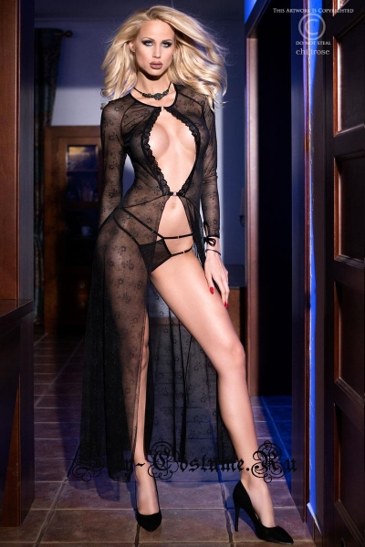 Сорочка полупрозрачная длинная черная с рукавами chilirose cl4133 black