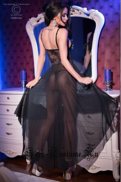 Сорочка черная длинная полупрозрачная фантастикс chilirose cl4162