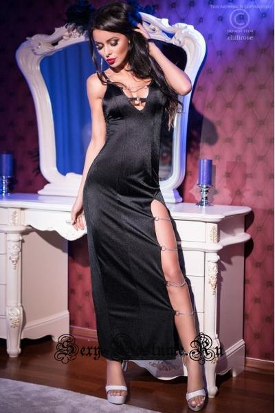 Платье гладкое черное с цепочками chilirose cl4164