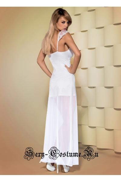 Сорочка длинная белая  из прозрачного материала obsessive feelia gown