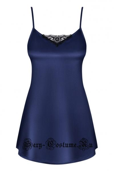 Сорочка синяя атласная для подчеркивания фигуры obsessive satinia babydoll