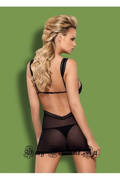 Сорочка черная облегающая с вырезом под грудью obsessive swanita chemise