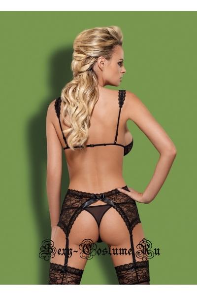 Сексуальный корсет и трусики-стринги черный obsessive swanita corset and thong