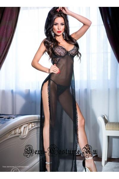 Сорочка длинная черная с глубокими разрезами по бокам chilirose cl4144