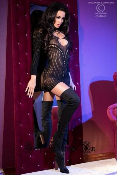 Капроновое платье черное подчеркивающее chilirose cl4100
