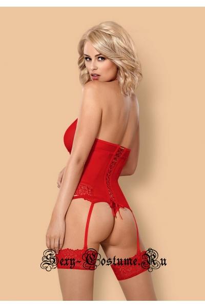 Тканевый мягкий корсет + трусики красный obsessive 838 corset