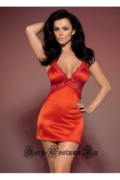 Сорочка ярко-красная obsessive secred chemise
