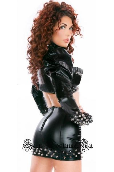 Клубный черный костюм виниловый с шипами готический стиль w8507-52