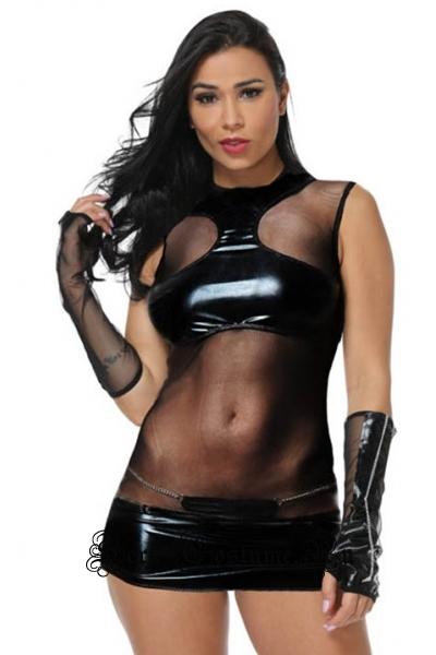 Сексуальное клубное черное платье виниловое полупрозрачное m18675