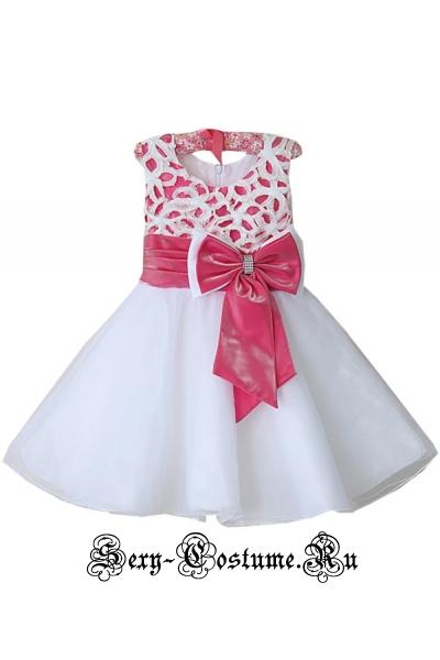 Белое платье для утренника 5-6 лет, 7-8лет m9093