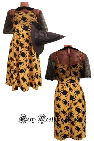 Желтое платье ведьма  паучки m19236
