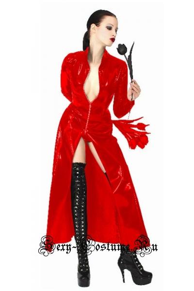 Виниловое красное платье тринити w1051