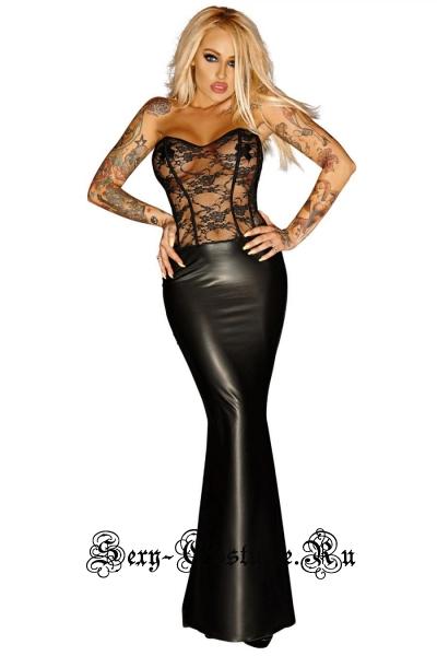 Виниловое черное платье с полупрозрачным верхом w0484