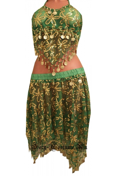 Восточная танцовщица зеленая монетки lu800-8
