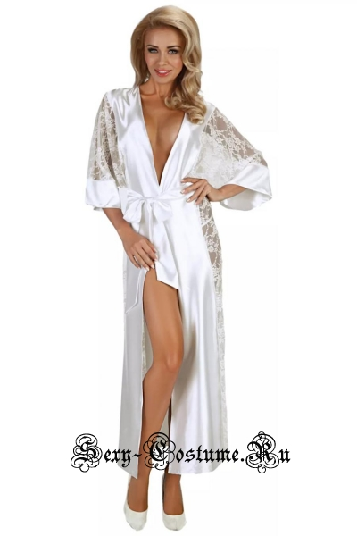 Длинный белый халат атласный пеньюар beauty night bouquet white