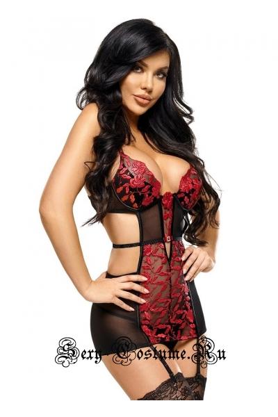 Сорочка черный + красный beauty night evangelina chemise