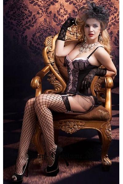 Комплект романтическая ночь тканевый корсет черный nightks lu9791