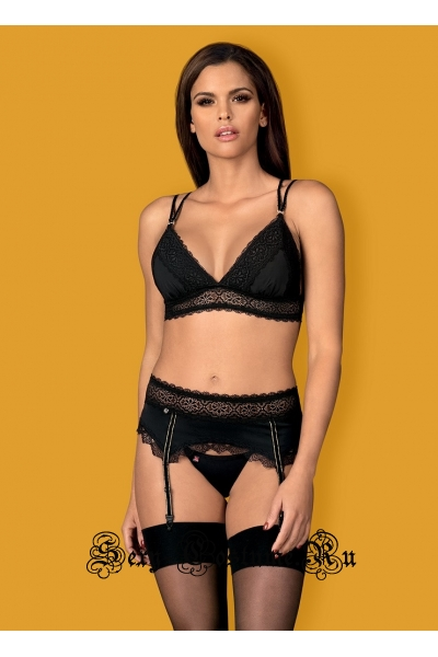 Женственный комплект черный из трех предметов obsessive lolitte set