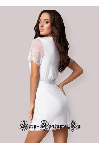 Пеньюар белый сексуальный халатик obsessive miamor robe
