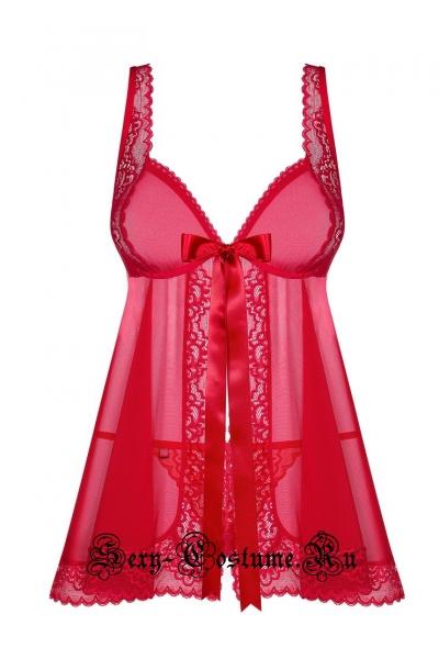 Сорочка красная obsessive rougebelle babydoll