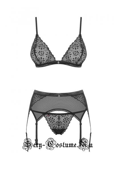 Комплект нижнего белья черный из 3х предметов секси obsessive shibu set