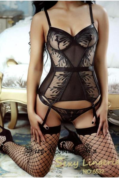 Полупрозрачное бюстье черное сексуальное nightks lu6532