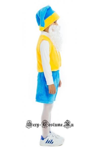 Гном с бородой желтый с голубым сказочный персонаж батик s89007