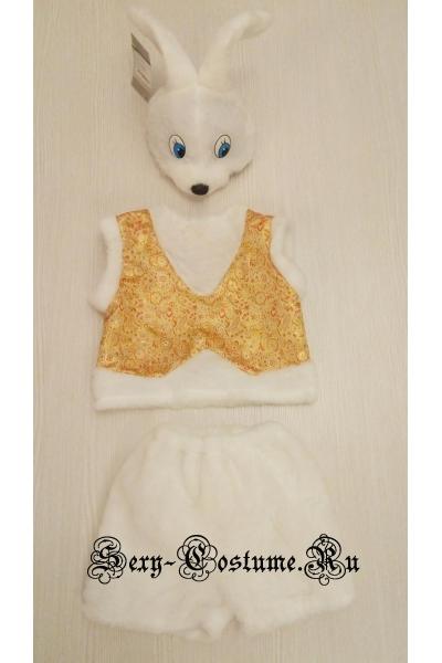 Белый зайчик с золотом братишка для мальчиков батик b1213