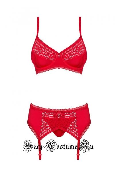 Комплект красный с широким кружевным поясом obsessive jolierose set