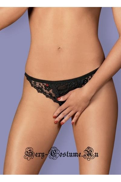 Трусики черные с открытой зоной obsessive letica crotchless thong