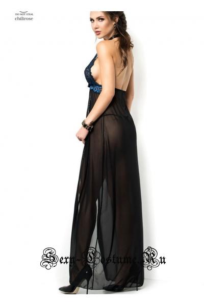 Сорочка полупрозрачная длинная черная + синяя chilirose cl3856 diamond line