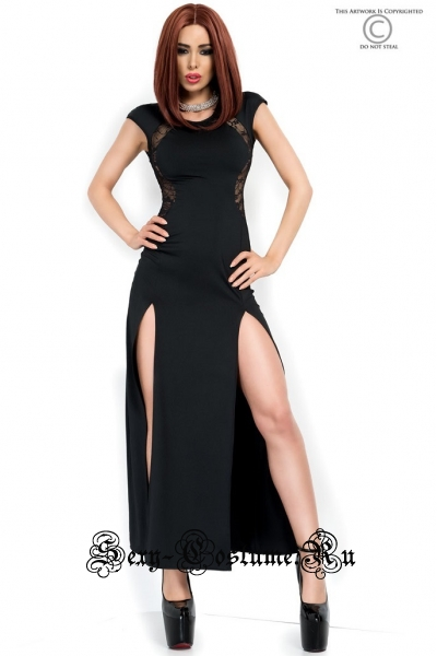 Черное длинное платье с разрезами chilirose cl3858