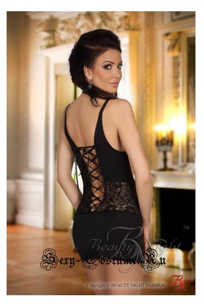 Сорочка черный из эластичной ткани beauty night carlita