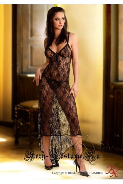 Сорочка черная полупрозрачная длинная с узором beauty night josephine