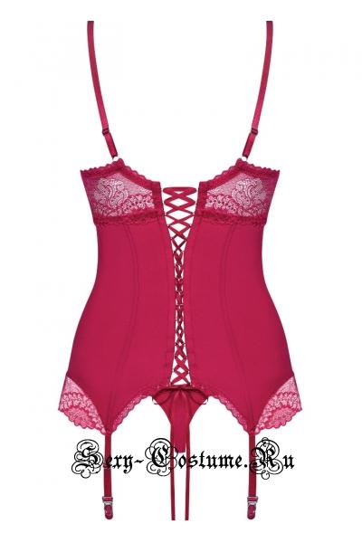 Мягкий корсет красный из мультистрейча obsessive rosalyne corset