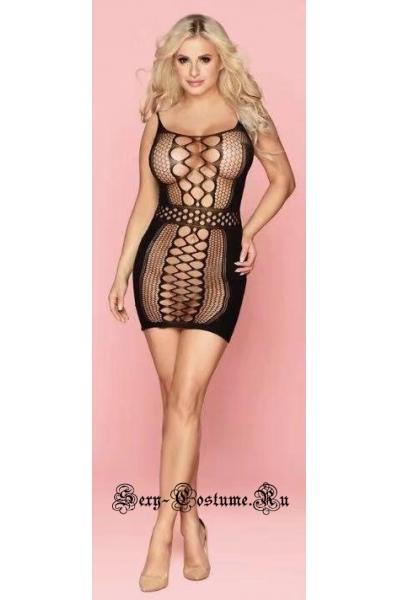 Эротическая боди-сетка крупная капроновое платье nightks lu7160