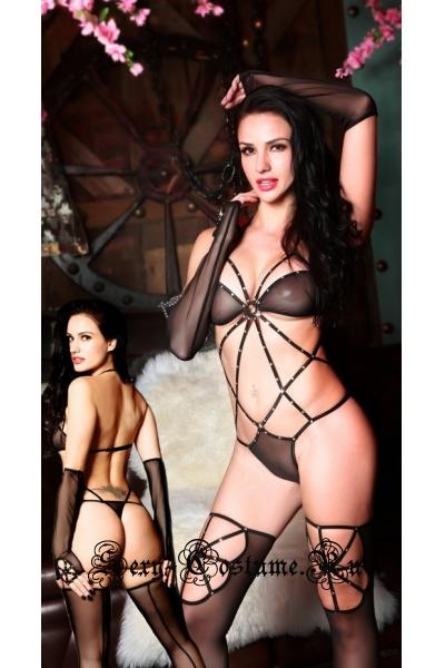 Открытый черный комплект нижнего белья sexy lingerie nightks lu9899