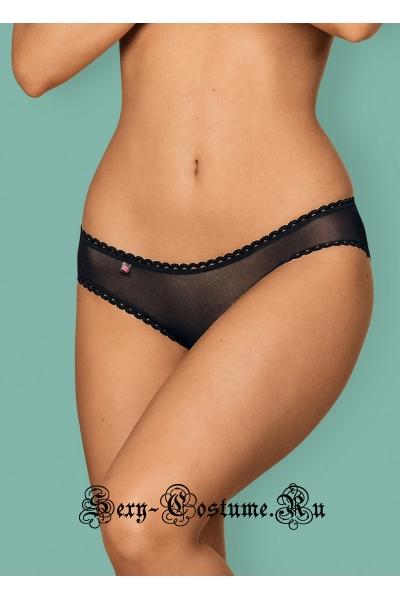 Трусики черные сочетание нежной сетки и кружева obsessive tricy panties
