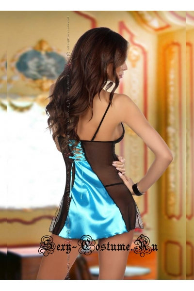 Бирюзовая вечерняя сорочка с кружевными вставками beauty night michele chemise turquoise
