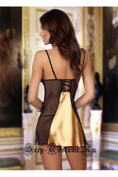 Золотистая сорочка с кружевными вставками beauty night michele chemise gold