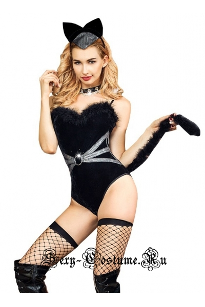 Велюровое боди cat woman черное nightks lu6317