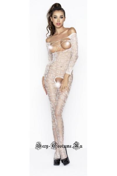Белый боди-комбинезон капроновый кроткая леди passion bs031-1