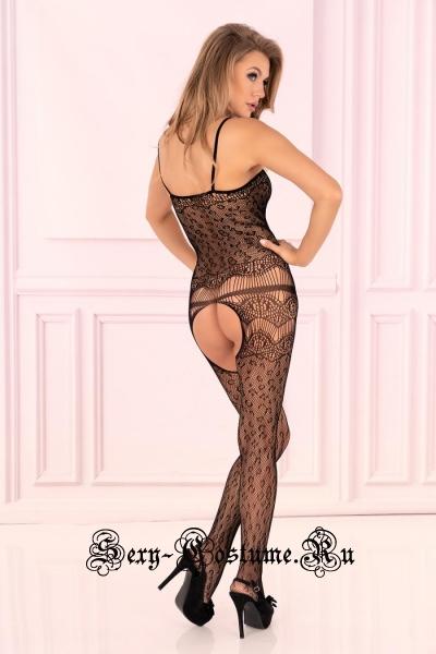 Капроновый комбинезон черный леопардовый viviena livia corsetti viviena
