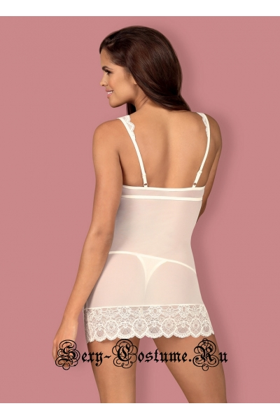 Женственная белая сорочка полупрозрачная фея obsessive 853 che