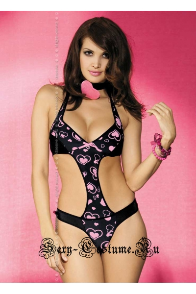 Боди черное узор в розовые сердечки obsessive corazone teddy