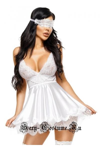 Белая атласная сорочка с маской на глаза beauty night eve white
