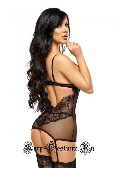 Чувственная черная полупрозрачная сорочка beauty night marion chemise