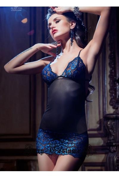 Сорочка черная с синим узором классика chilirose cl3843 diamond line