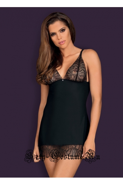 Сорочка черная с регулируемыми ремнями на спине obsessive chiccanta chemise