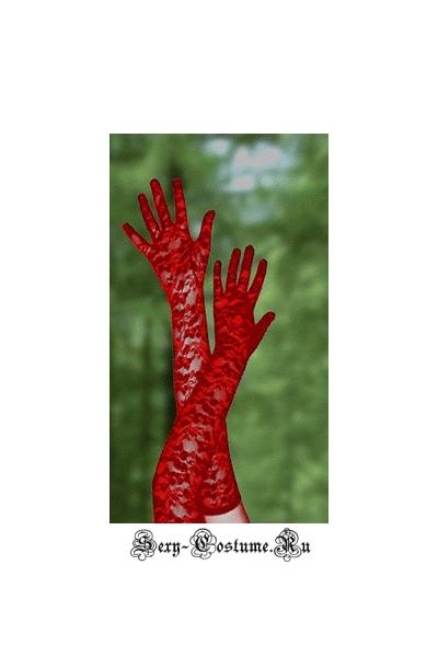 Красные гипюровые перчатки 55см выше локтя d13002